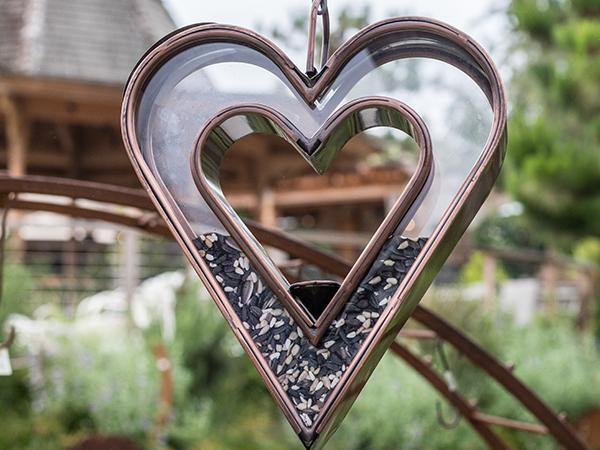 An image of a heart shaped bird feeder