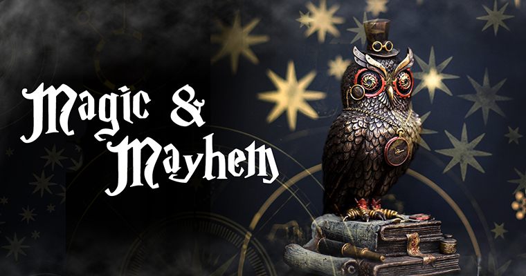 An image of an owl clock for the Magic and Mayhem Banner Halloween 2017