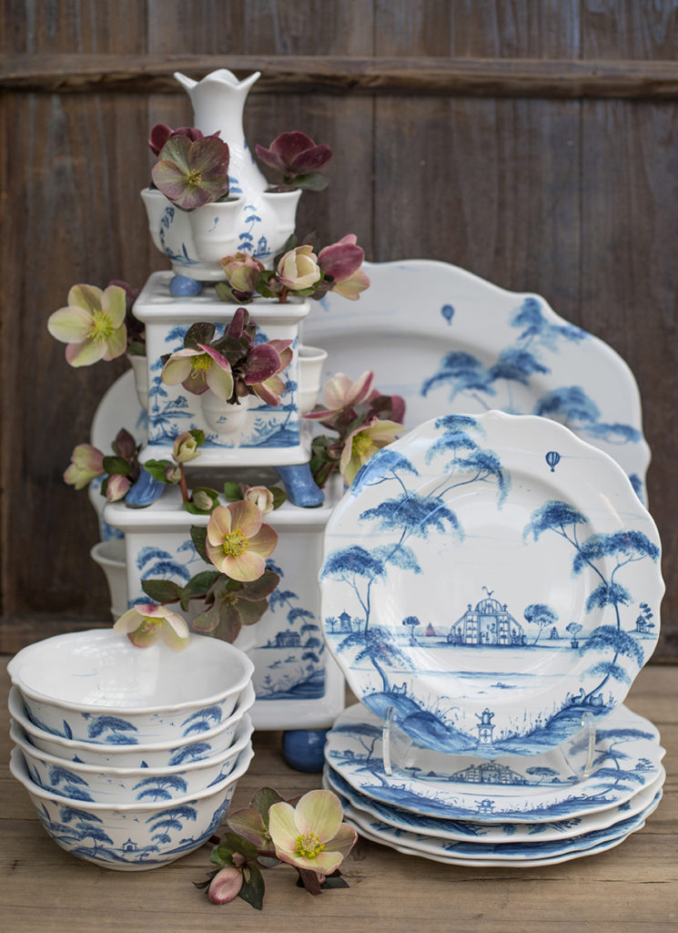 An image of blue and white porcelain plates and bowls