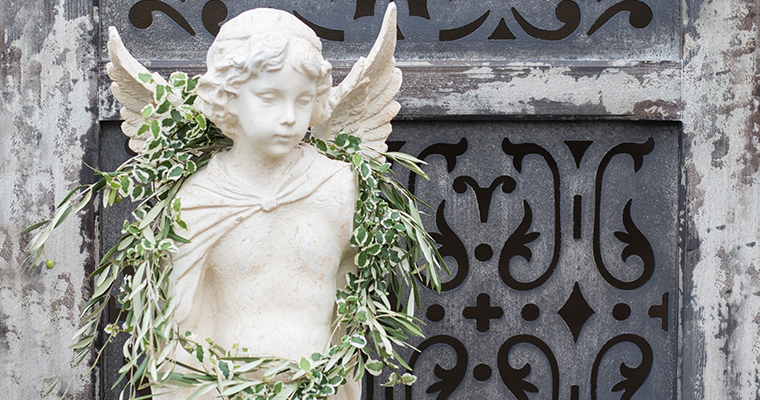 An image of an angel headstone for Christmas Opening