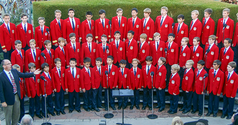 An image of the All-American Boys Choir performing at Roger's Gardens