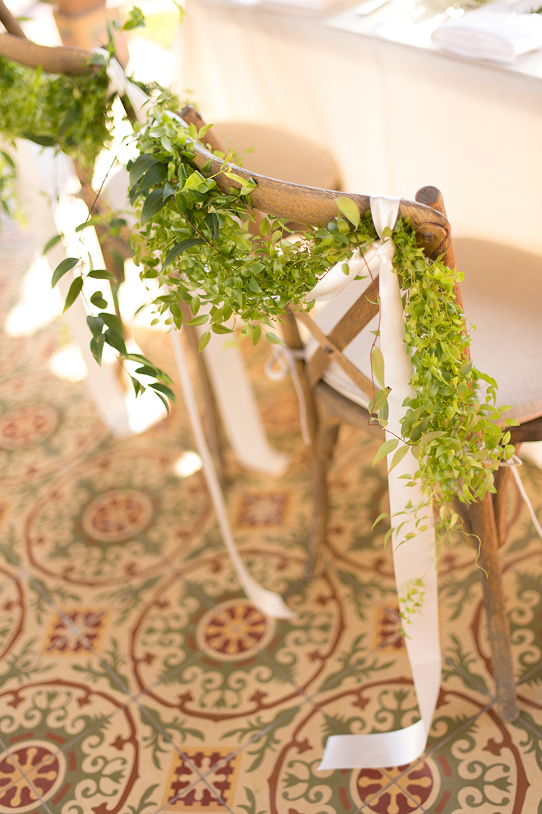 An image of the decorations of plant garland from the Premoli-Herbert Wedding