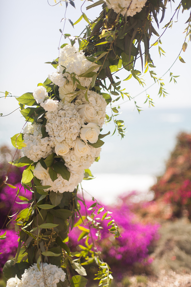 An image of a white rose and hydrangea archway at the Premoli-Herbert Wedding