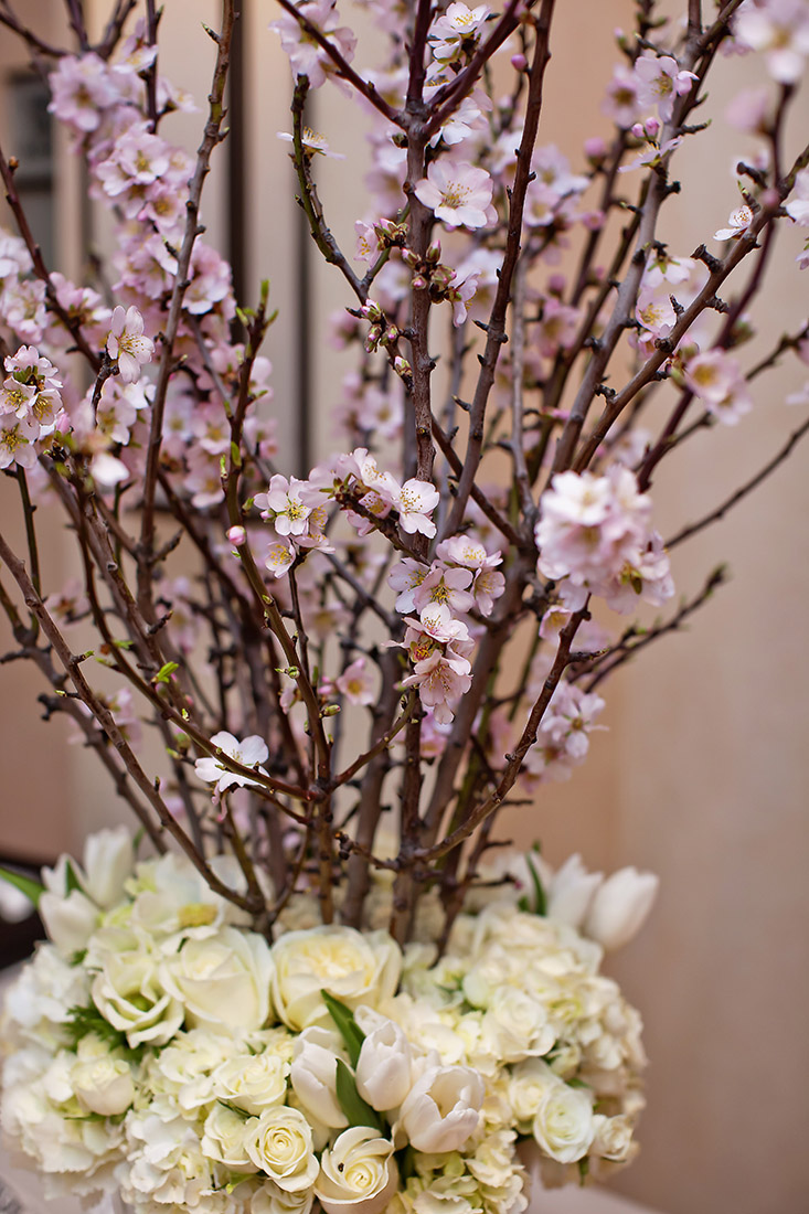 An image of the cherry blossom floral arrangement from the Lindsay & Shawn Wedding
