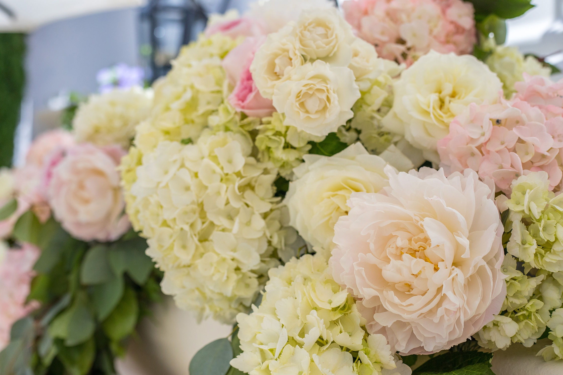 An image of a white, light pink rose and white hydrangea floral from the Dunzer Wedding