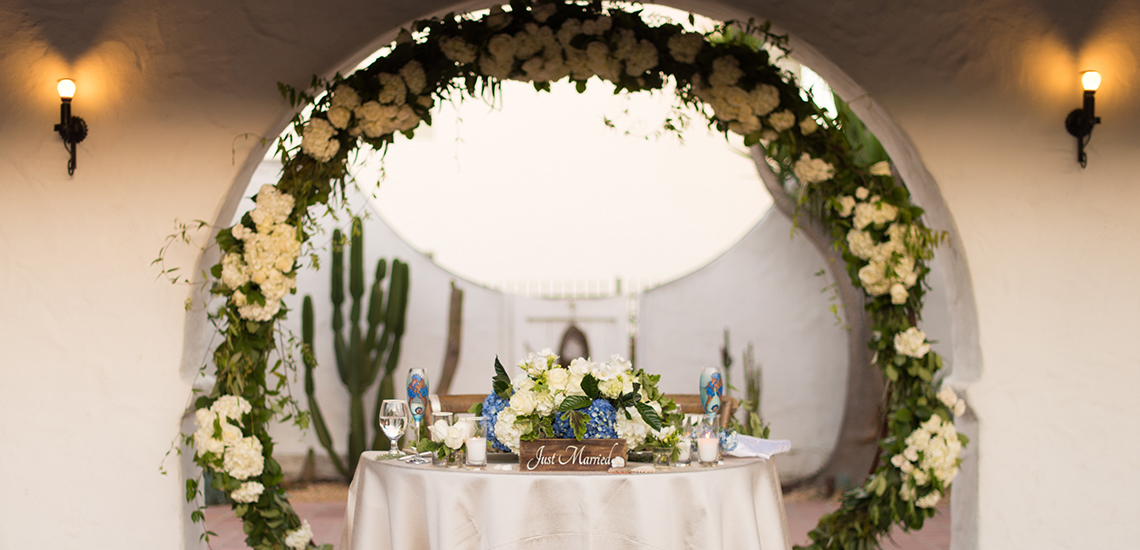 An image of a white hydrangea garland wedding decorations