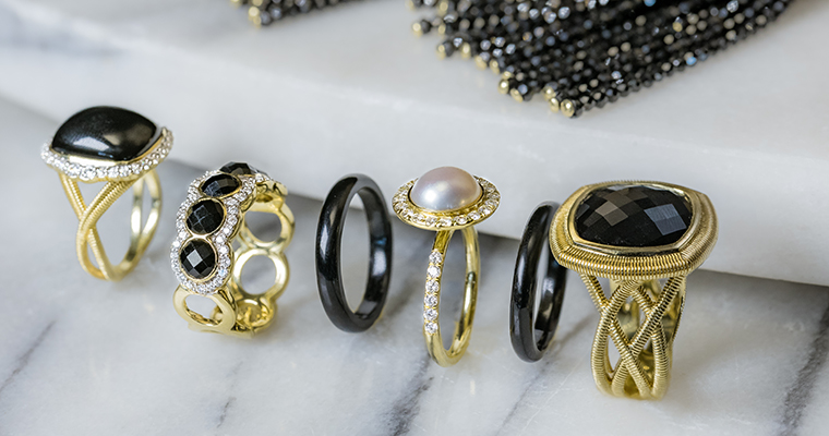 An image of black stone/jeweled, pearl, diamond rings for the Gadbois Trunk Show