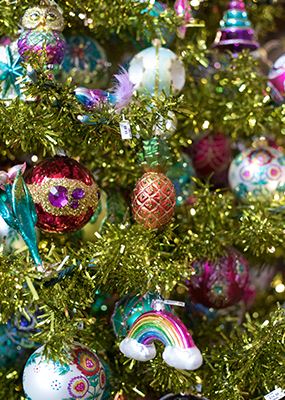 An image of a bright and colorful various ornaments