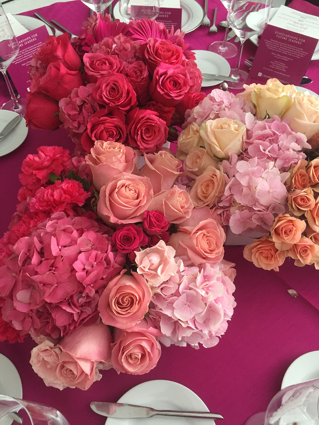 An image of orange, pink roses and hydrangeas floral arrangements