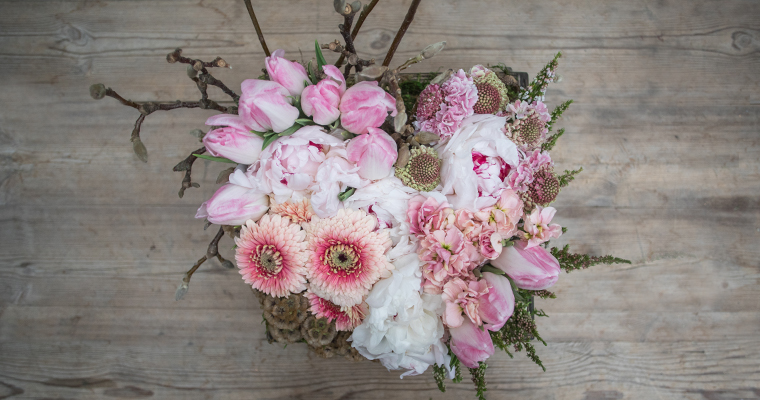 An image of white and pink various flower floral heart arrangement workshop