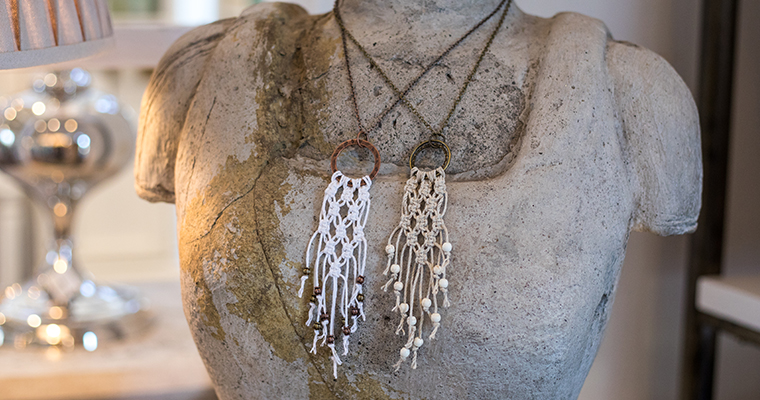 An image of a macrame rope necklace
