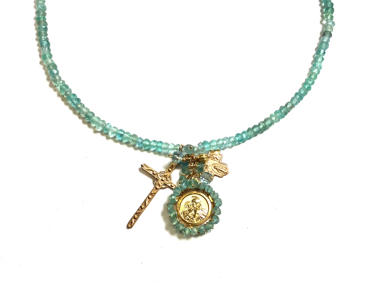 An image of a teal bead necklace from Andrea Barnett
