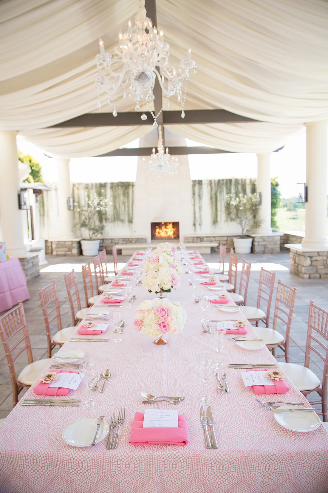 An image of the pastel pink dining table set up for the Something Lovely event