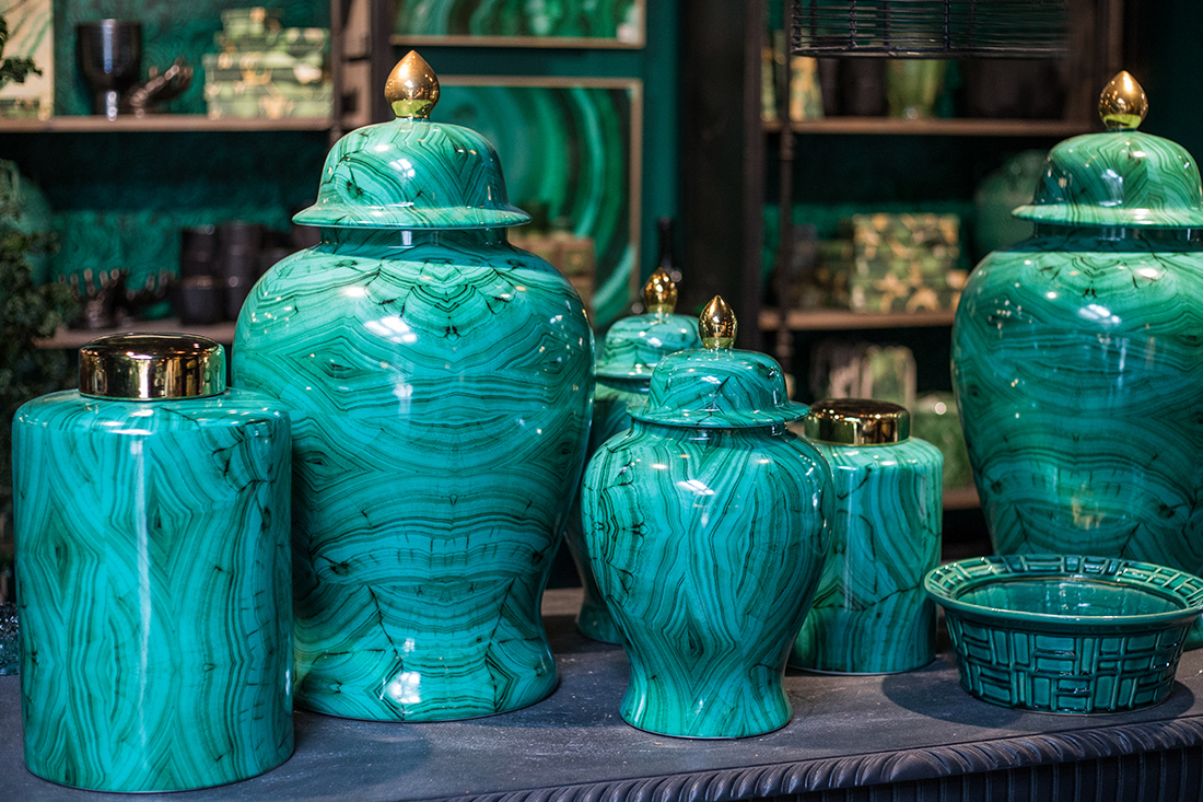 An image of jade green ceramic vases