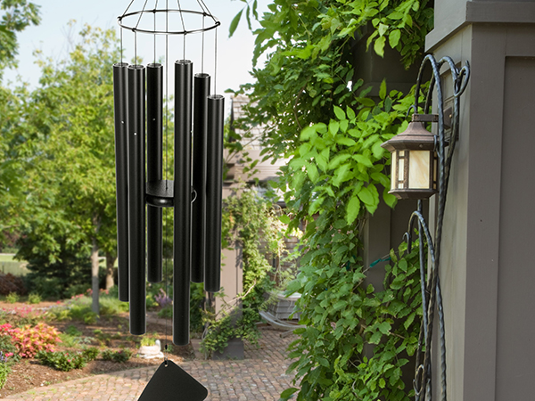 An image of a black set of wind chimes