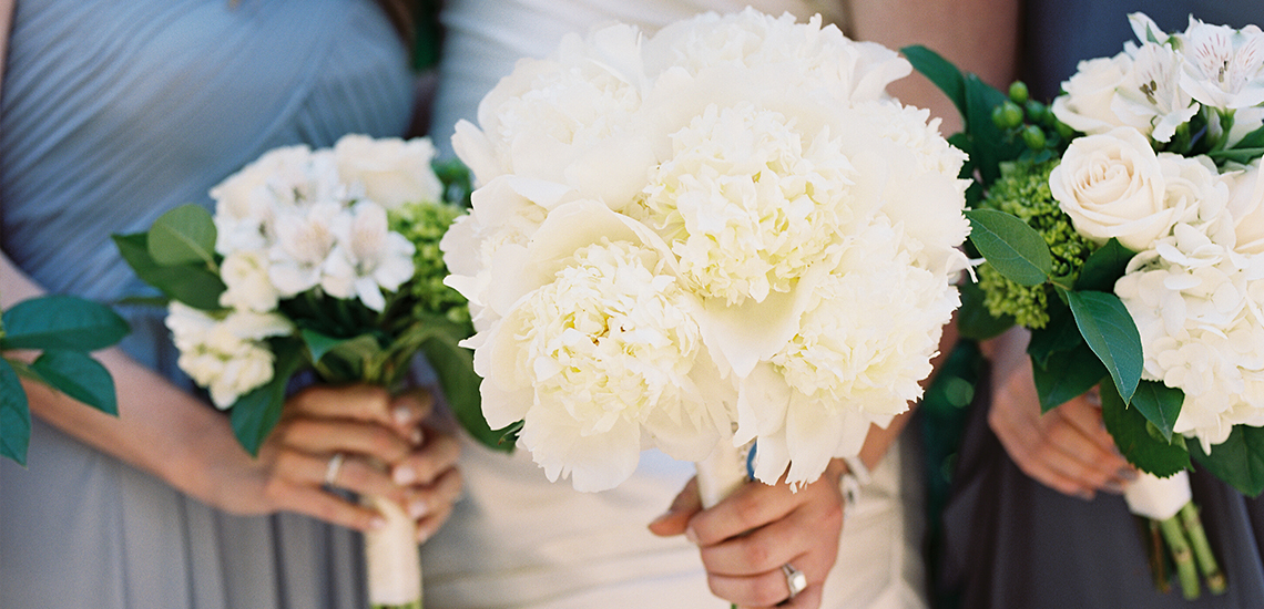 An image of a white flower wedding bouquet
