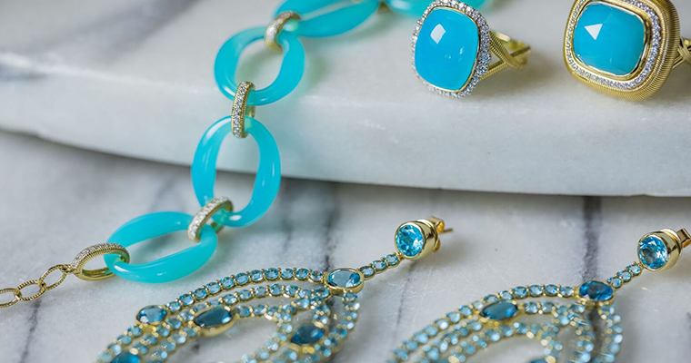 An image of bright turquoise blue jewelry from Gadbois Jewelry Trunk Show