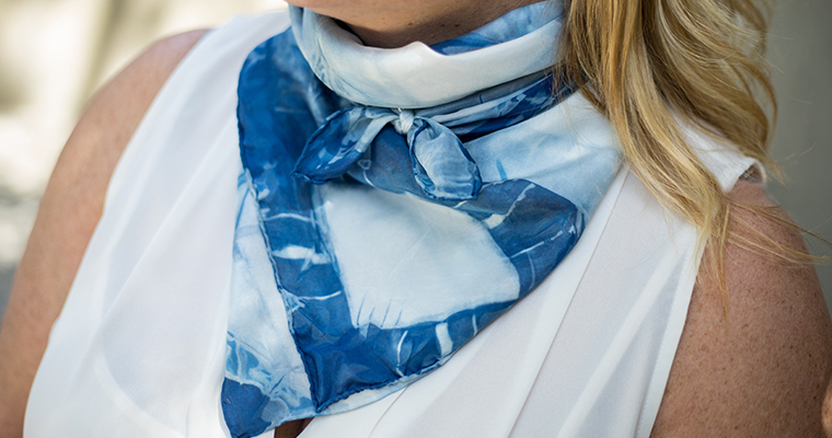 An image of Indigo & Shibori Natural Dye Scarf