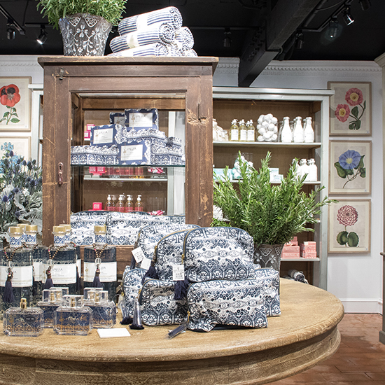 An image of blue and white perfume and soap from the bath and body boutique