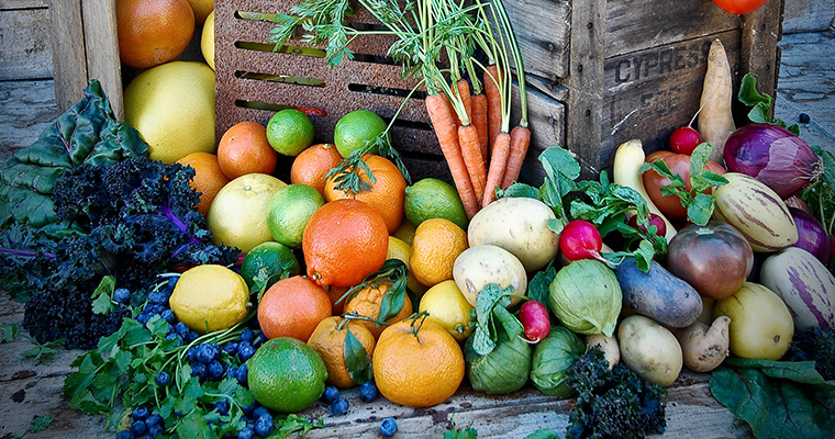 An image of various types of fruit and vegetables
