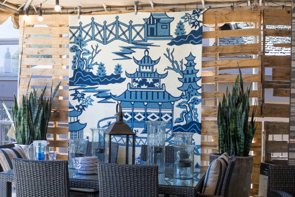 An image of a blue and white outdoor living set up