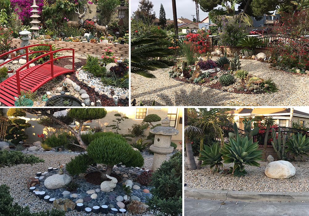 A collage of Pham entry for California Friendly Garden Contest 2018
