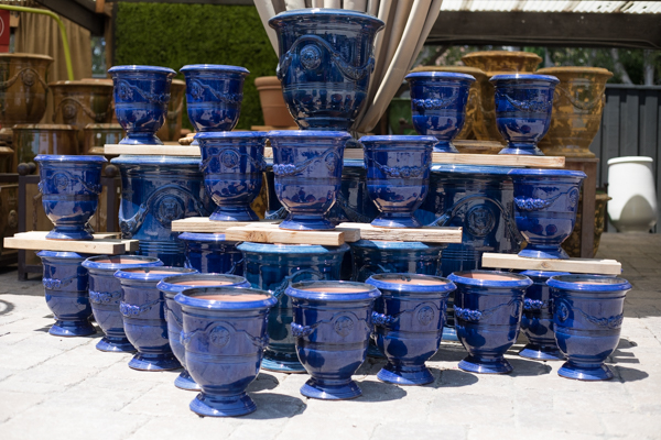 An image of blue ceramic pots