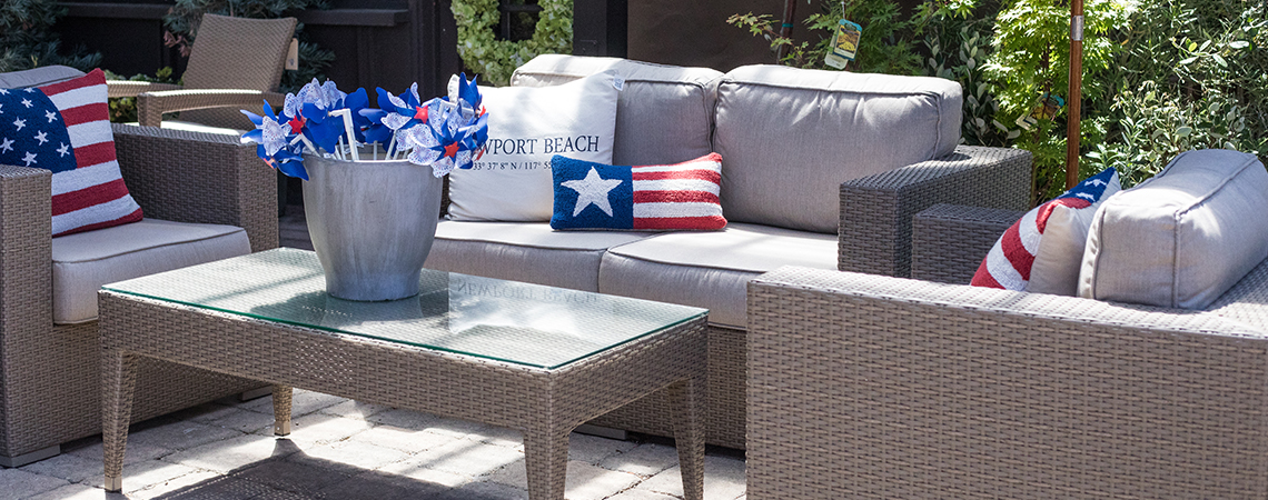 summer outdoor living rogers gardens fourth of july pillows patio furniture