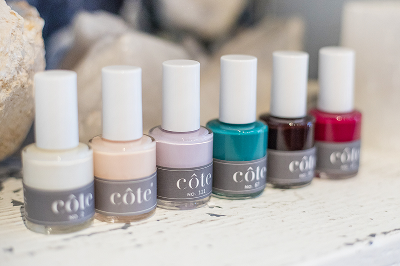 An image of Cote Nail Polish, a vegan nail polish brand, in a variety of colors