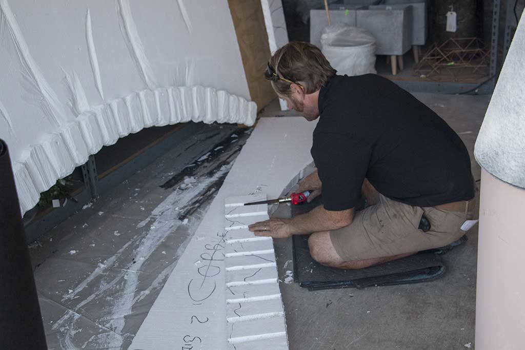 An image of one of the members creating the Hogwarts wall Halloween 2018