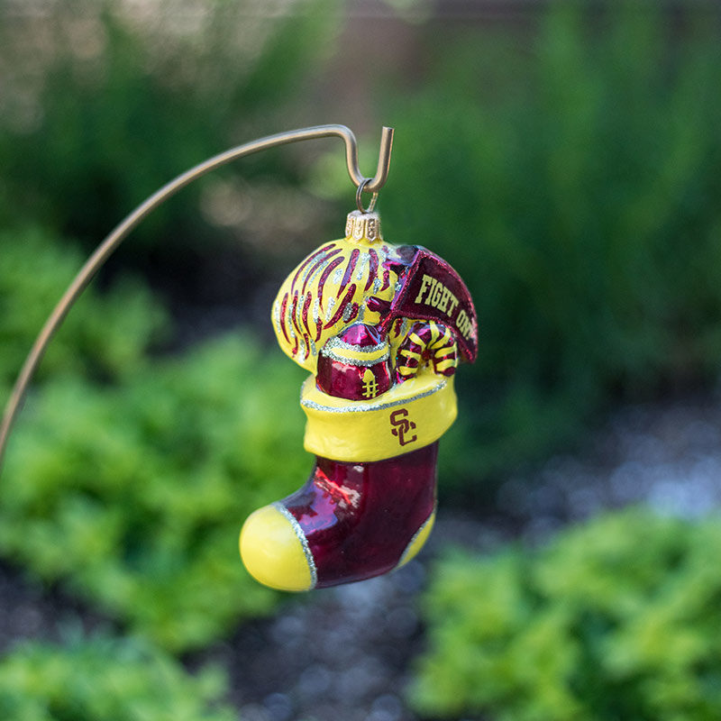 USC yellow and red stocking ornament