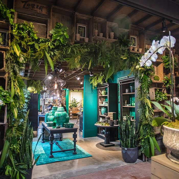 An image of one of the garden rooms filled with jade products