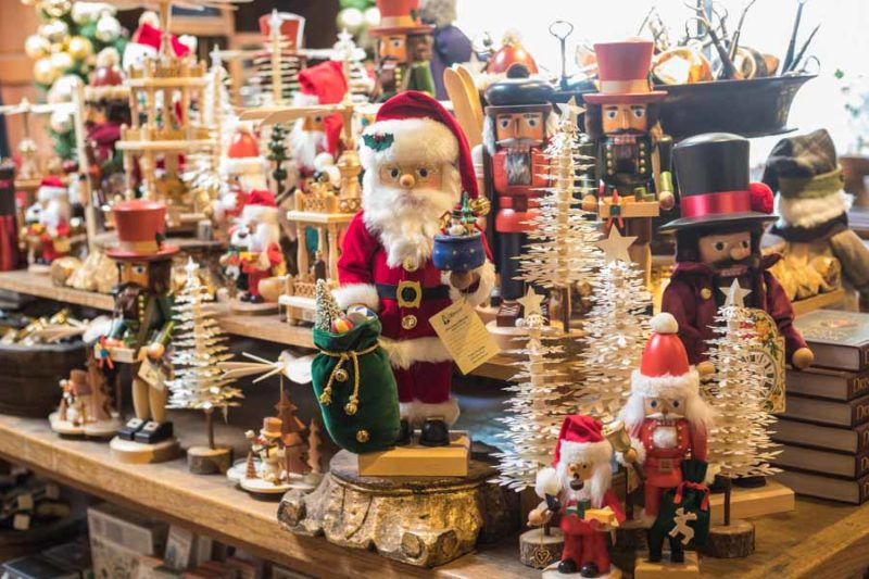An image of a table filled with holiday nutcrackers at Roger's Gardens Christmas Boutique