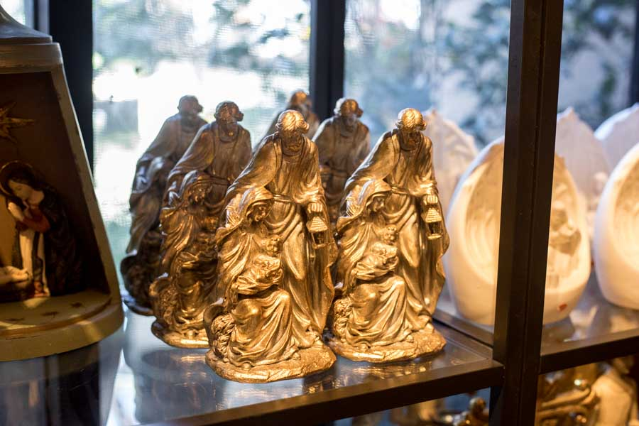An image of golden Joseph, Mary and Jesus decorative statue