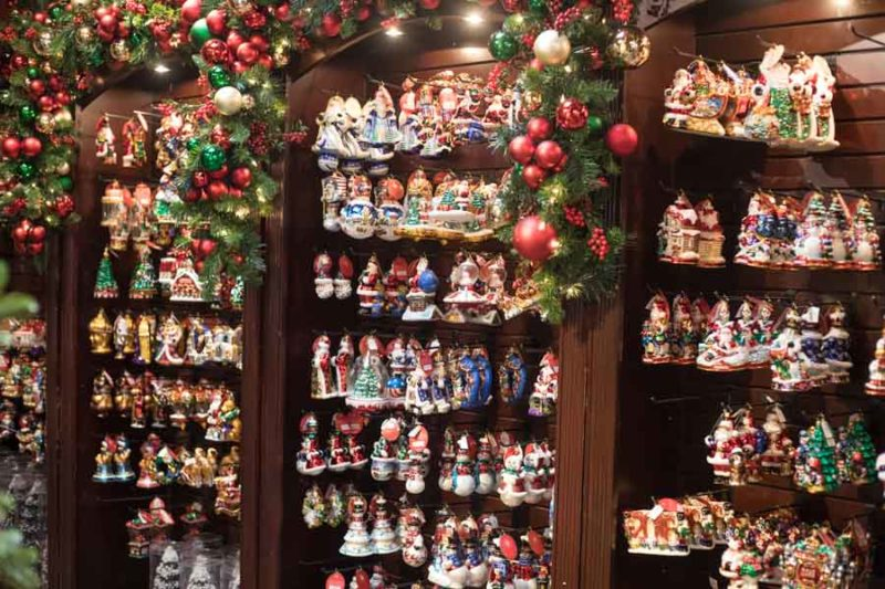 An image of the Christopher Radko wall of ornaments are Roger's Gardens