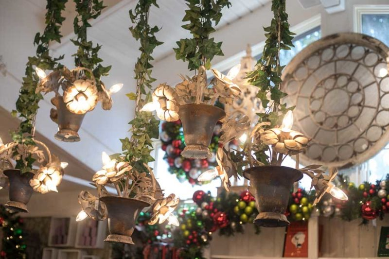 An image of french hanging flower pot lights