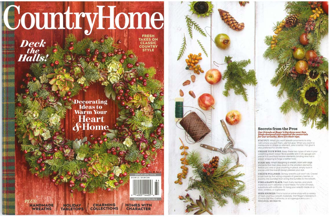 An image of a magazine cover from Country Home of fresh embellished wreaths