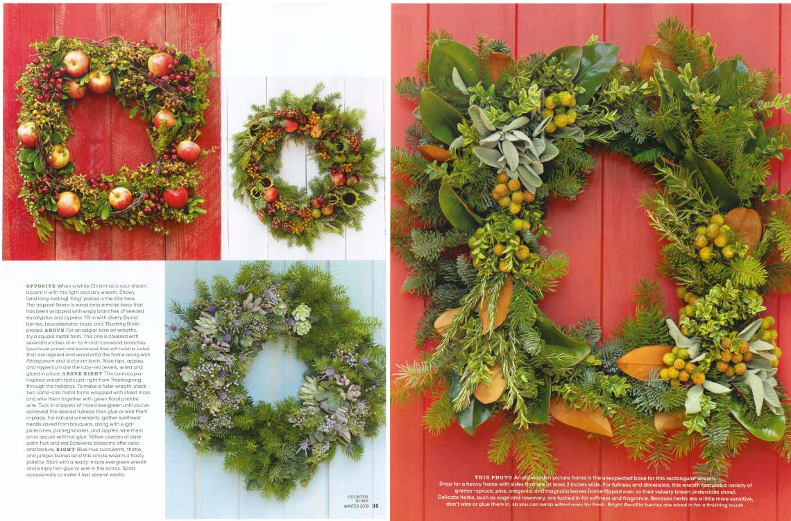 An image of four different types of fresh embellished wreaths