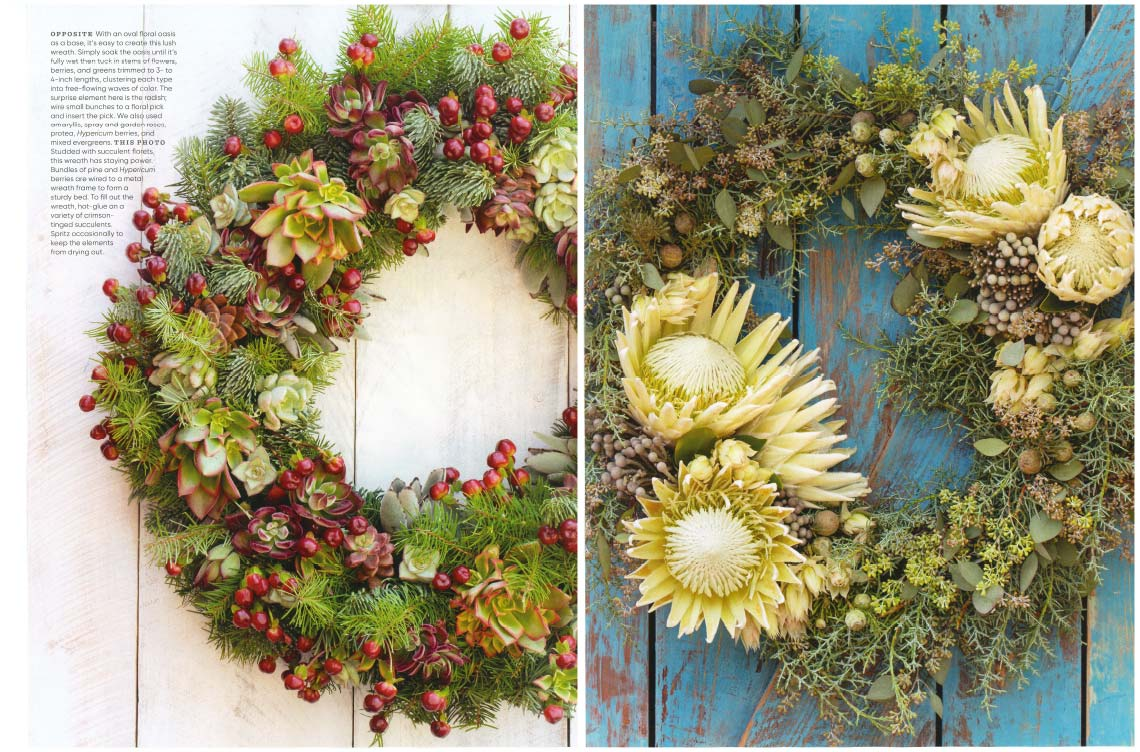 An image of two different types of fresh embellished wreaths