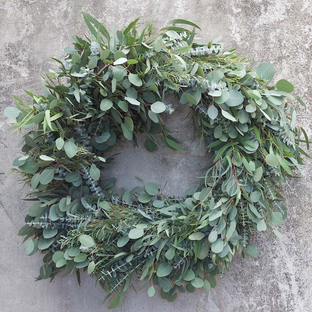 An image of a green eucalyptus wreath