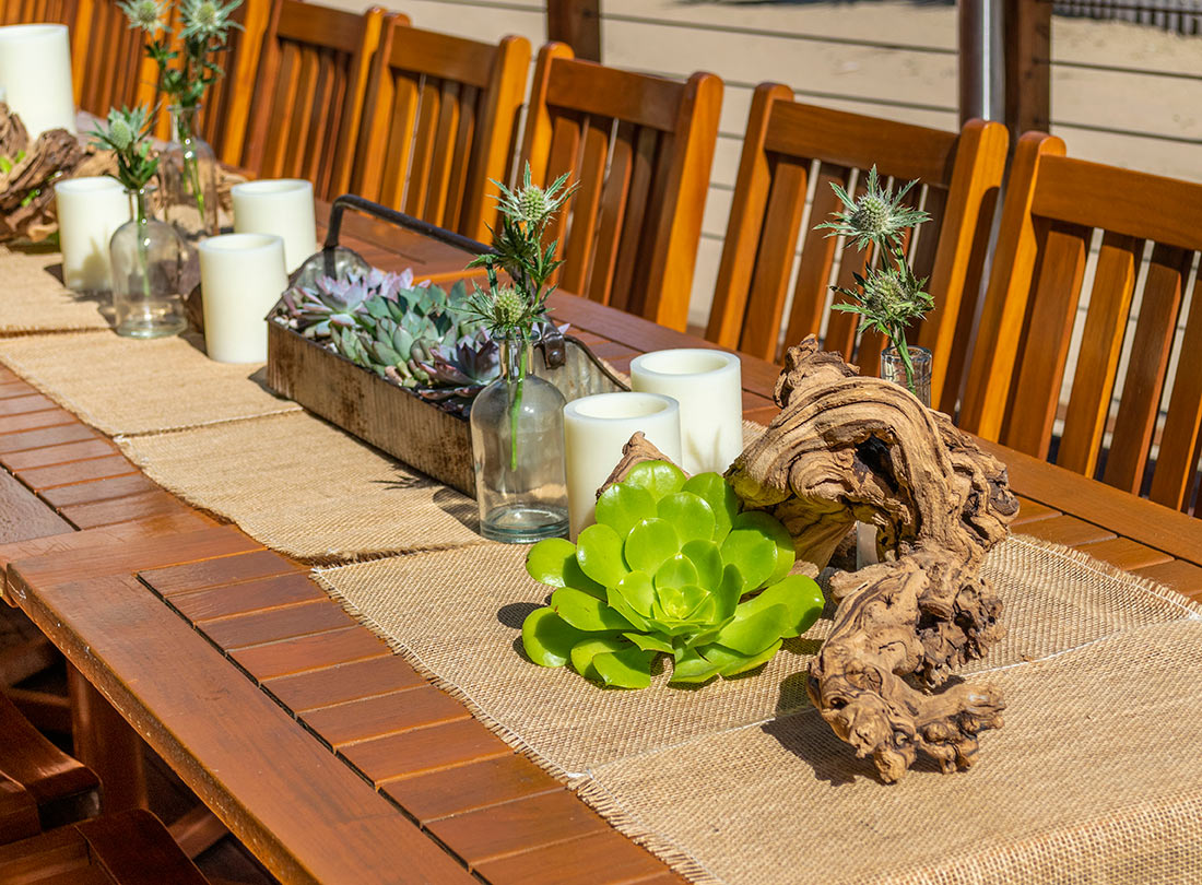 An image of succulent and driftwood dining set up for bootleg venue