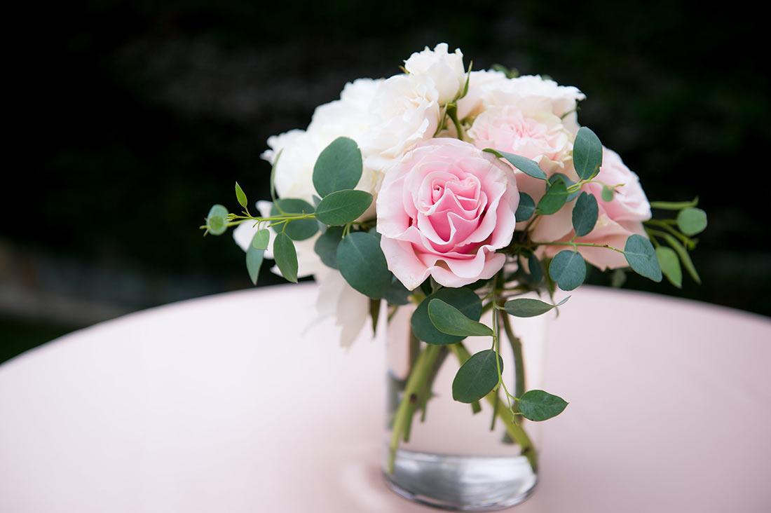 An image of light pink roses wedding bouquet