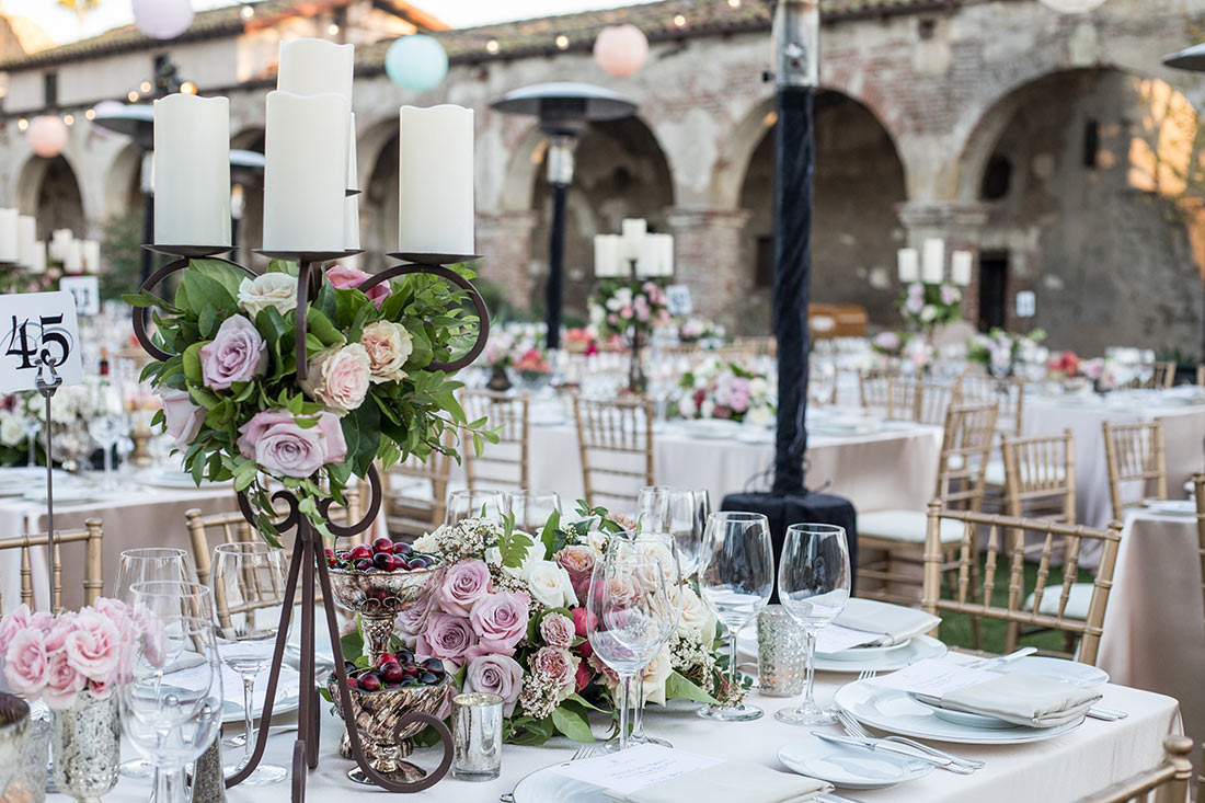 An image of the floral arrangement at the Mission San Juan Capistrano Gala
