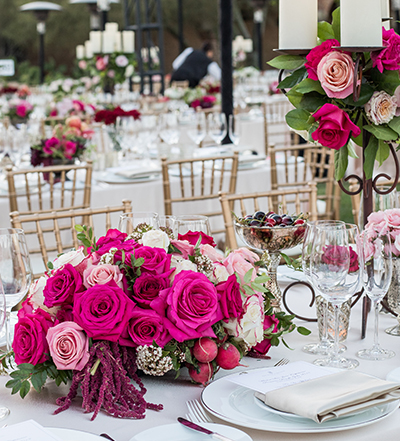 An image of pink, white and light pink roses for Mission San Juan Capistrano Gala