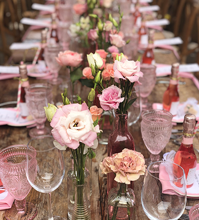 An image of a pink June Bridal Shower dining set up