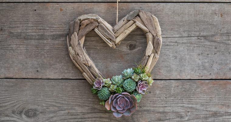 An image of a driftwood heart shaped succulent wreath