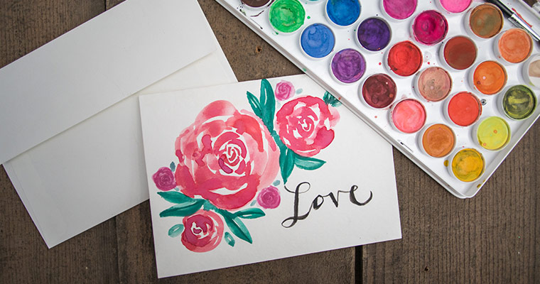 An image of a rose Valentine watercolor card for Valentine's Day workshop