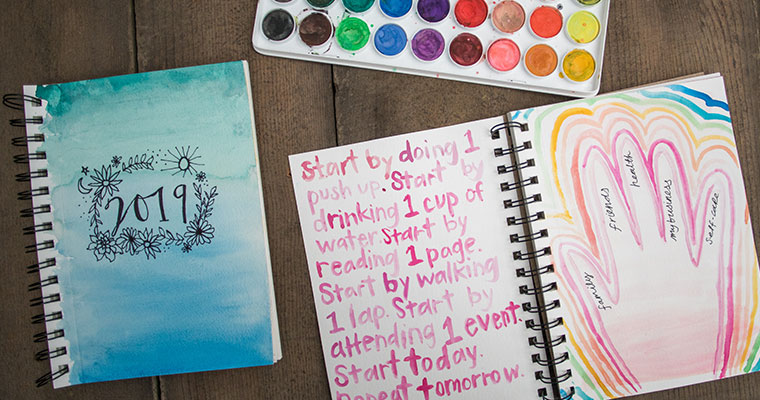 An image of a watercolor journal for workshop