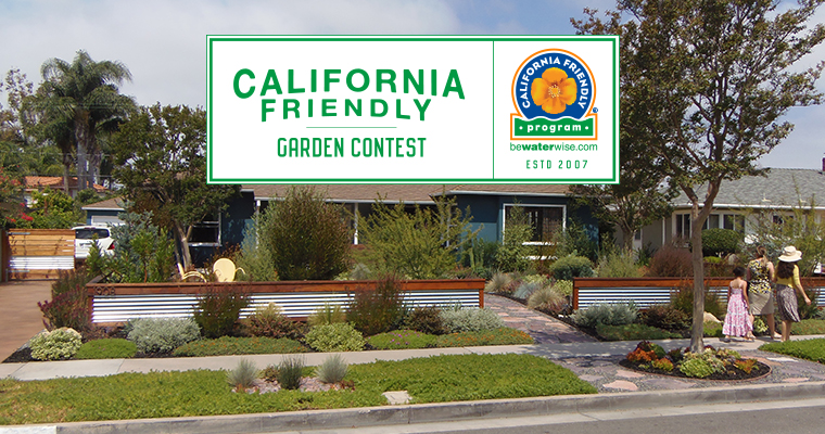 An image of a front yard of a teal house for the California Friendly Garden Contest
