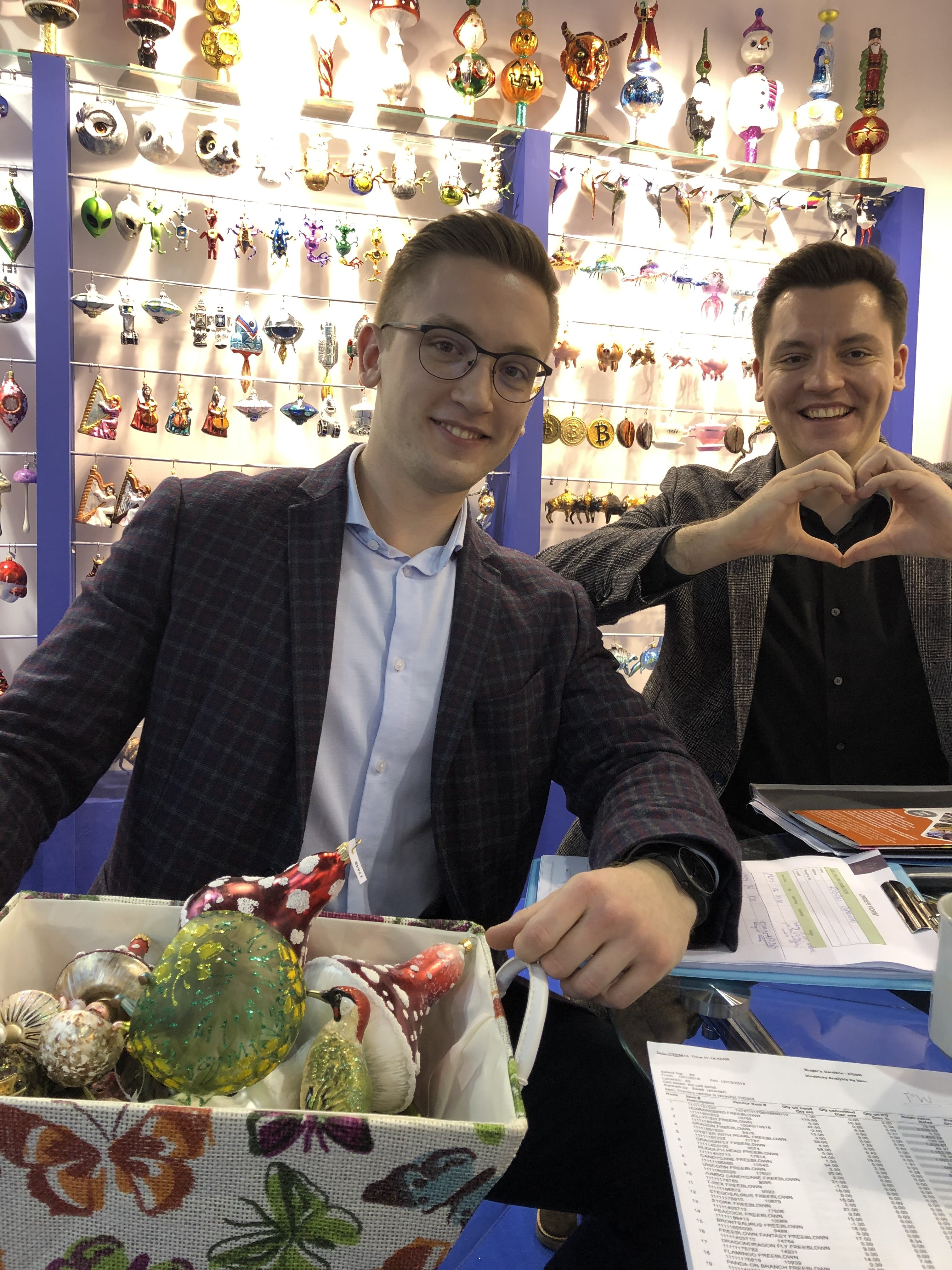 An image of two representatives of the vendors we work with for ordering ornaments for Christmas